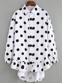 Lapel High Low Polka Dot Ruffle Hem Shirt Dress