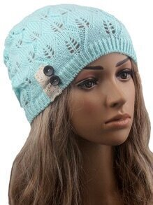 Contrast Lace Buttons Eyelet Green Sweater Hat