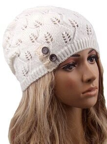 Contrast Lace Buttons Eyelet White Sweater Hat