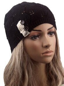 Contrast Lace Buttons Eyelet Black Sweater Hat
