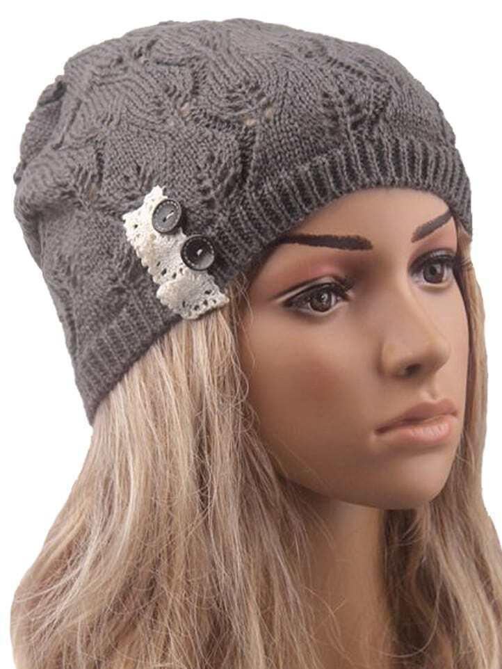 chapeau avec dentelle boutonnage gris french romwe. Black Bedroom Furniture Sets. Home Design Ideas