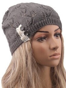 Contrast Lace Buttons Eyelet Grey Sweater Hat