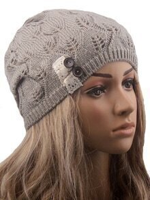 Contrast Lace Buttons Eyelet Pale Grey Sweater Hat