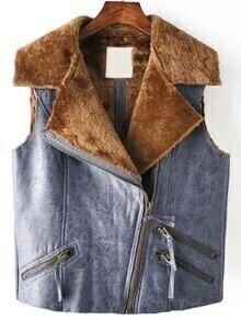 Lapel Zipper Pockets Suede Blue Vest