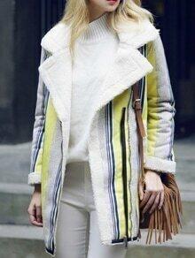 Lapel Vertical Striped Long Coat