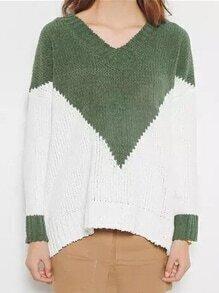 V Neck Loose Color-block Sweater