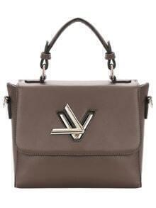 Khaki Metal Twist Lock PU Tote Bag