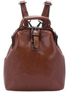Coffee Buckle PU Backpack