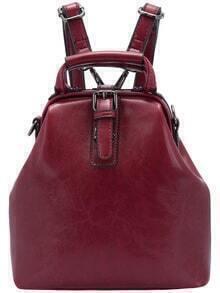 Burgundy Buckle PU Backpack