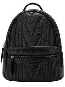 Black Classic Zipper PU Backpack