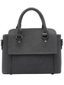 Grey Marbling Print PU Tote Bag
