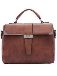 Brown Twist Lock PU Tote Bag