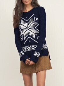 Navy Long Sleeve Snowflake Print High Low Sweater