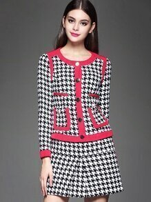 Black Round Neck Long Sleeve Houndstooth Two Pieces Dress