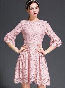 Pink Round Neck Bell Sleeve Lace Dress