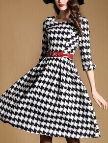 Black Round Neck Half Sleeve Pockets Houndstooth Drawstring Dress