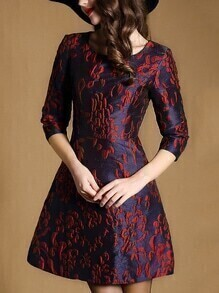 Navy Round Neck Length Sleeve Jacquard Pockets Dress