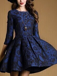 Blue Round Neck Length Sleeve Jacquard Dress