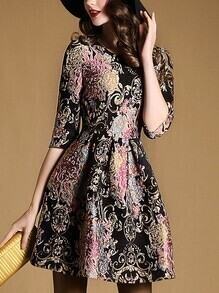 Black Round Neck Half Sleeve Jacquard Dress