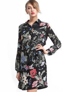 Multicolor Lapel Long Sleeve Tie-Waist Print Dress