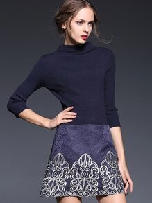 Navy Round Neck Length Sleeve Knit Jacquard Embroidered Pockets Dress