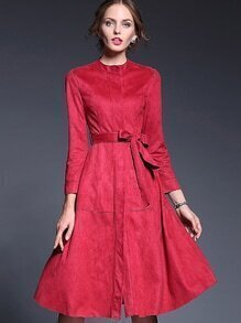 Red Round Neck Long Sleeve Tie-Waist Dress