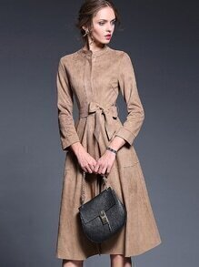 Khaki Round Neck Long Sleeve Tie-Waist Dress
