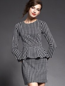 Black Round Neck Long Sleeve Ruffle Houndstooth Dress