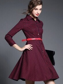 Red Lapel Long Sleeve Drawstring Dress