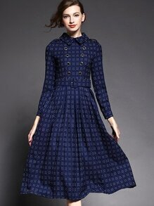 Blue Lapel Long Sleeve Drawstring Dress