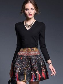 Black V Neck Long Sleeve Drawstring Print Dress
