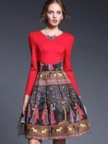 Red Round Neck Long Sleeve Print Dress