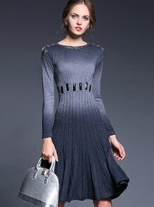 Grey Round Neck Long Sleeve Beading Knit Dress
