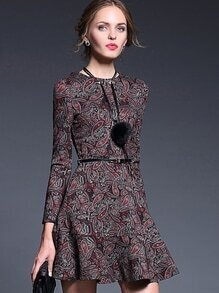 Red Round Neck Long Sleeve Necklace Drawstring Print Pockets Dress