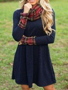 Contrast Cuff Plaid Shift Dress With Scarf