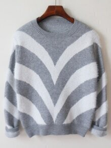 Chevron Print Loose Grey Sweater