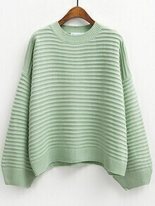 Striped Loose Green Sweater