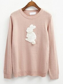 Rabbit Flocked Pattern Pink Sweater