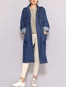 Stand Collar Drawstring Pockets Long Coat