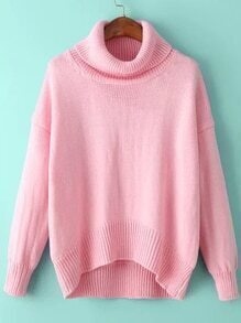 Turtleneck High Low Pink Sweater