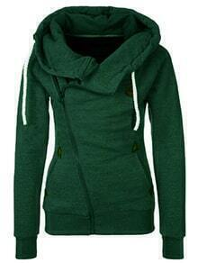 Hooded Zipper Drawstring Green Sweatshirt