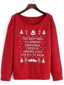 Christmas Print Red Sweatshirt