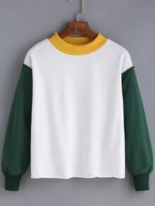 Women Color-block Loose Sweatshirt