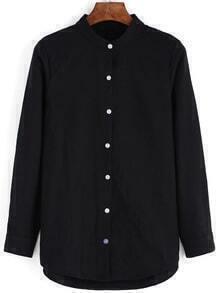 Stand Collar Buttons Black Blouse