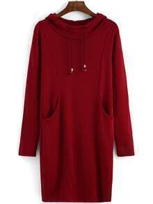 Hooded Drawstring Pockets Sweatshirt Dress