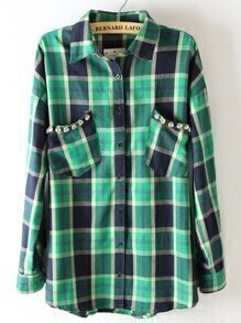 Lapel Plaid Pockets Blouse With Beaded