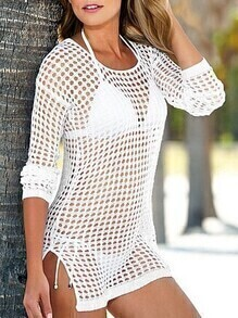 Long Sleeve Hollow Out Split Side White Top