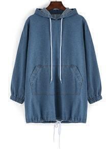 Hooded Drawstring Pocket Denim Sweatshirt Dress