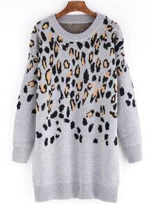 Long Sleeve Leopard Sweater Dress