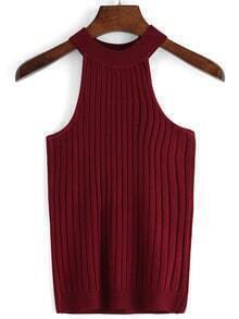 Women Halter Burgundy Tank Top